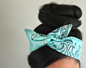 Mint hair bow, Paisley Dolly bow Headband, hair bow head band