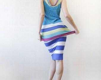 Blue white colorful striped sleeveless tank top M-L