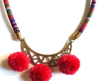 AZTEC prints cord, brass GEOMETRIC pendant and foucsia POMPOMS necklace, ethnic, folklore, boho, ootd, contemporary jewelry, gift for her