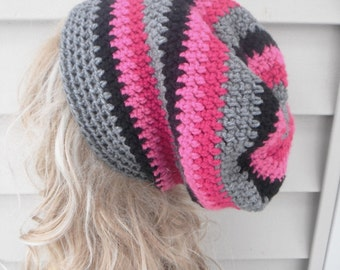 Pink Slouchy Hat, Crochet Slouch Hat, Womens Crochet Beanie, Slouchy Beanie, Womens Accessories, Hair Accessories, Winter Ladies Hat,