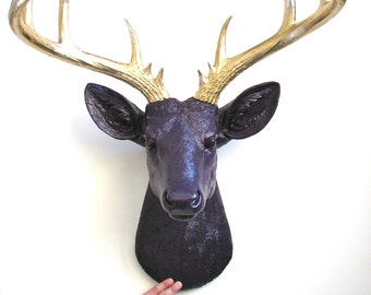 DEEP dark PURPLE XL Faux Taxidermy Deer Head wall mount wall hanging home decor in deep dark purple with gold antlers  office decor stag