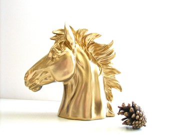 Horse Head Bust Statue table top decor in gold