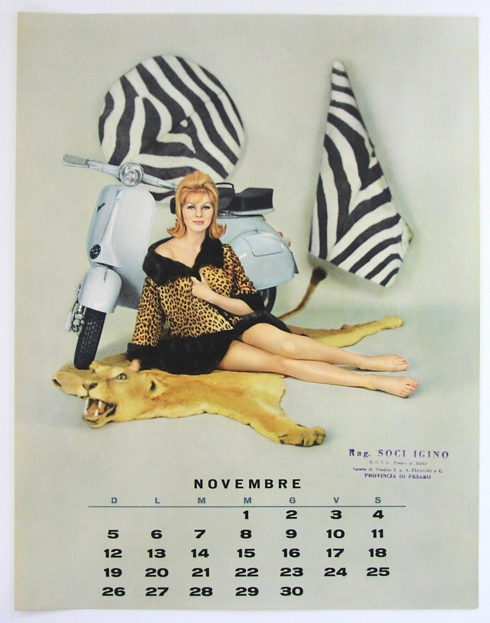 vintage vespa pin up novembre 1961 calendrier page sexy animal. Black Bedroom Furniture Sets. Home Design Ideas