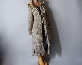 Oversized Boho Sweater Cardigan Coat Chunky Grey Knit COZY