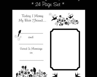WEDDING PREMADE SCRAPBOOK Pages 12x12 Photo Bridal Keepsake Album / Bridal Shower Gift / 12x12 Scrapbook Layouts / 22 Page Set with Poems