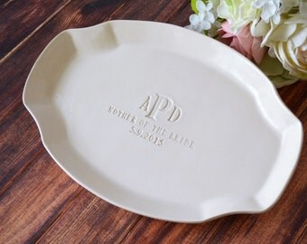 Mother of the Bride Gift or Mother of Groom Wedding Gift - Personalized Platter - Gift Boxed & Ready To Give