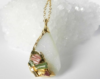 Druzy necklace, Tourmaline necklace, Raw Gemstone, Gold necklace