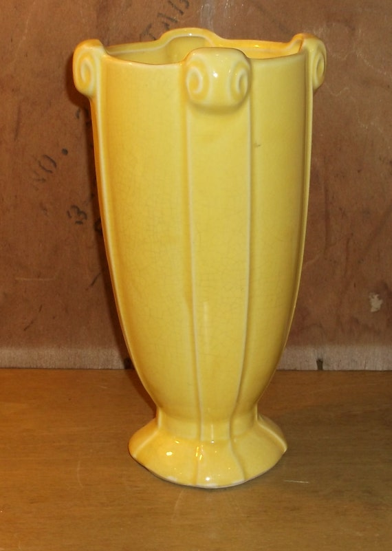 Mccoy Vase Yellow Art Deco Style Ceramic Pottery By