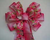Spring Flower Wreath Bow Pink Spring Flowers Wedding Pew Bow Ombre Pink Flowers Wedding Aisle Bow Pink Birthday Shower Party Decoration Bow