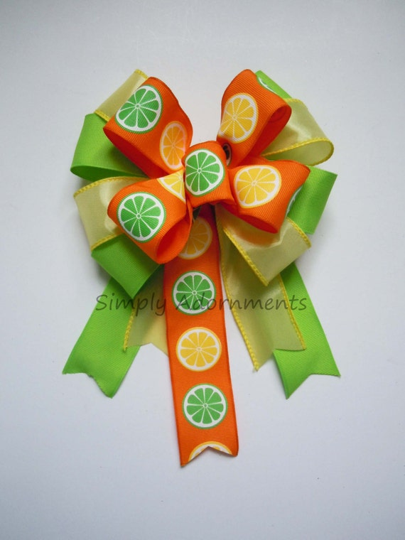 Citrus Wreath Bow Citrus Party Decor Green Yellow Lime Orange Party decor Summer Citrus Wreath Bow Citrus Birthday Bow Citrus Gift Wrap Bow