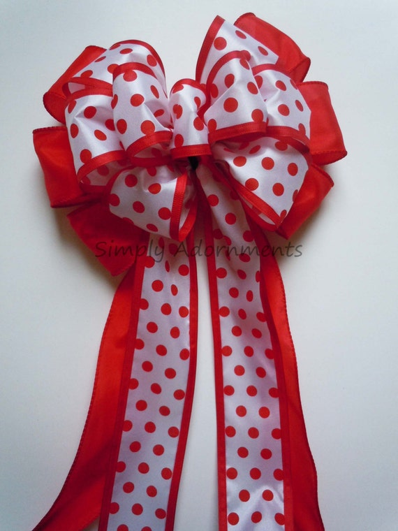 Polka Dots Birthday Party Decor Red White Polka Dots Wedding Pew Bow Polka Dots Shower Party Decoration Wreath Bow Gift Bow