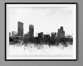 Grand Rapids Michigan Skyline - Watercolor Art Print Poster - Housewarming, Home Decor, Wall Hanging, Michigan Art