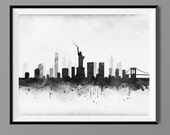 New York Skyline - Watercolor Art Print Poster - Housewarming, Home Decor, Wall Hanging, New York Art