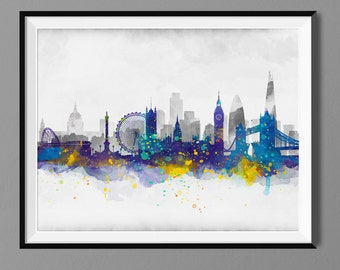 London Skyline - Watercolor Art Print Poster - Housewarming, Home Decor, Wall Hanging, London Art