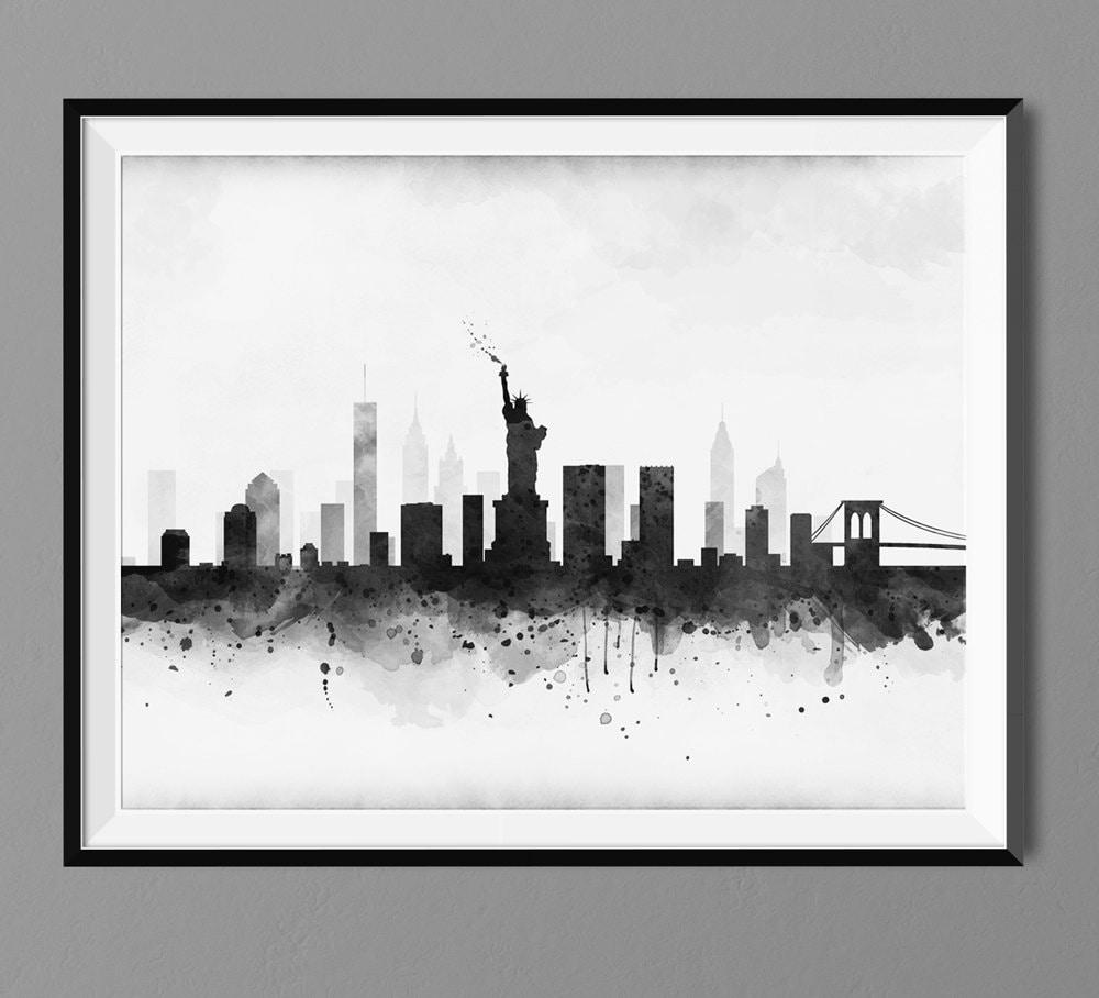 Watercolor New York: New York Skyline Watercolor Art Print Poster Housewarming