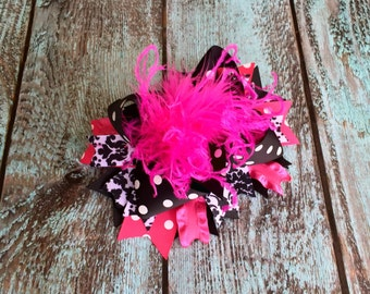 Girls Over the top hair bow Girls hair bow, Pink Black hair bows, Hot pink Black hair bow