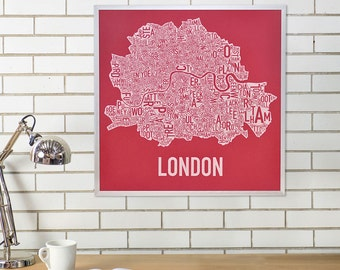 London Neighbourhoods Map Poster or Print, Original Artist of Type City Neighborhood Map Designs, Typography Map Art