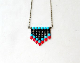 Beaded Chevron Necklace. Handmade Southwestern Color Block Necklace in Black Jade, Blue Turquoise and Red Glass. Minimalist Necklace.