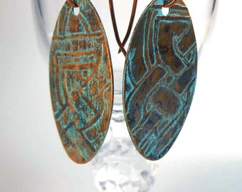READY to SHIP Handmade Copper Rustic Verdigris Earrings CPE83