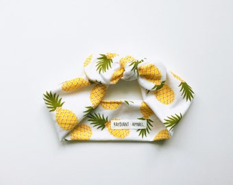 pineapples, yellow, summer, fruit, food, knotted tie up headband, top knot head wrap- one size fits all