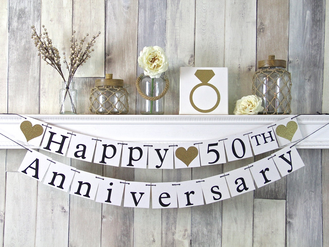 Gift Ideas For 50th Wedding Anniversary Party: 50th Anniversary Banner Happy Anniversary Banner Anniversary