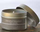 SALE - Coconut Bourbon Soy Candle Tin 4 oz. - coconut candle - food candle - bourbon candle - coconut bourbon candle - tropical candle