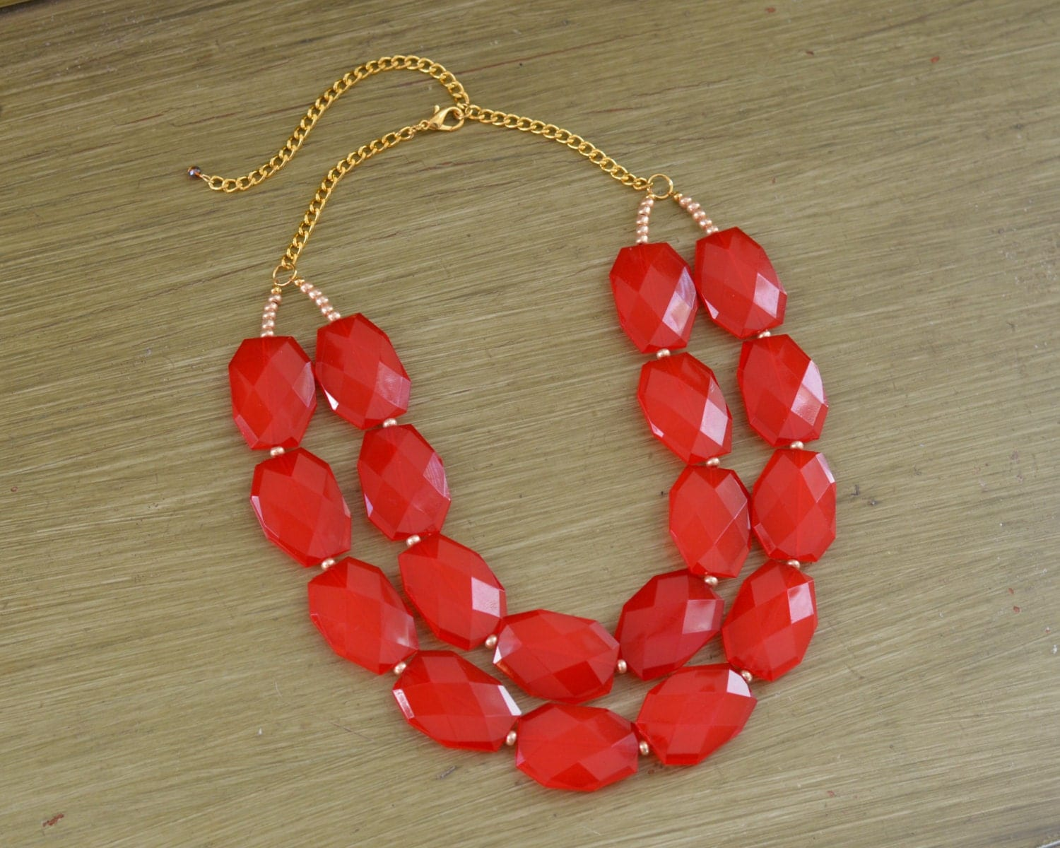 Double Strand Red Layered Statement Necklace Chunky Red Bead