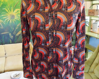 vintage Joyce womens button up nylon disco psychedelic glam boho hippie small medium