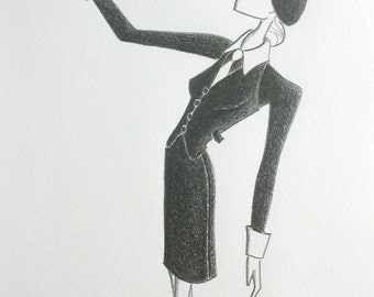 Original fashion illustration - Mod Beatnik