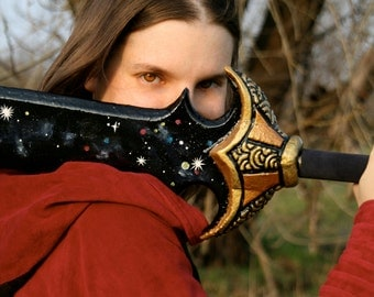 MADE TO ORDER - Blackrazor sword larp rpg black night sky starry obsidian one hand gold dungeons and dragons d&d forgotten realms geek