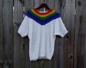M Medium L Large Vintage 80s 90s Western Connection of California White Rainbow Striped Grunge Indie Alternative Hippie Festival Sweater