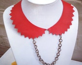 Collar necklace with chunky chain and zig zag edge - red leather -upcycled handmade leather jewellery by DustyDoes