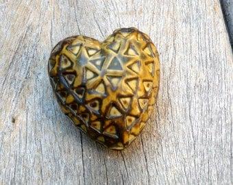 Earth Tones,Porcelain Heart, Ceramic Sculpture,Gift For Mom