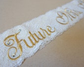 Shabby Chic Lace Bridal Sash - Vintage Gold and Ivory - Customizable Bride to Be Sash