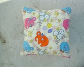 Children pillow cover - Elephant and Balloons - White Linen with Orange Pink Blue Elephants - Gift for kids, for her - Ready to Ship