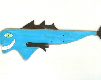 Doin' the BREAST Stroke #3, Brightly colored reclaimed wood fish art, handmade found object folk art