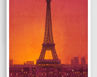 New day - Paris illustration Art Print Poster Eiffel tower Paris art Wall art Paris home decor Living room art Gift ideas for her Orange art