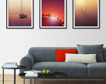 Any THREE Prints - Save 25%,Set of three Illustrations,Giclee Art prints Home decor Living room Gift ideas Nursery decor Kids room decor