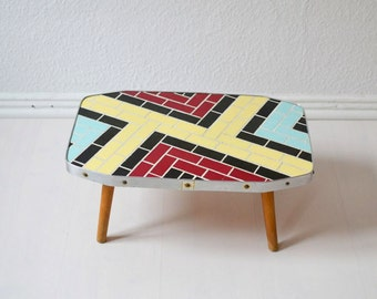 Vintage mosaic plant stand coffee table flower table Mid-Century Modern 60s GDR Eastern Germany
