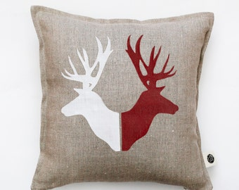 Deer print pillow cover hand painted on gray linen - cushion case with deer heads  0122