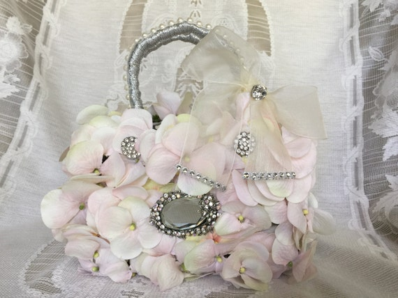Flower Girl Basket Blush : Blush flower girl basket purse bouquet with by