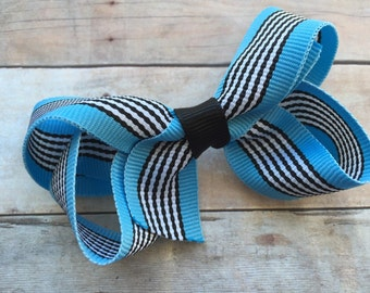 25% off SALE Blue & black striped hair bow - striped bow, boutique bow