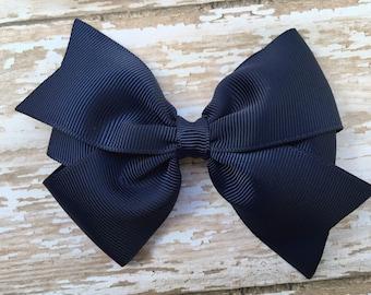 4 inch navy blue hair bow - navy blue bow, 4 inch bows, navy bows, pinwheel bows, girls hair bows, toddler bows, girls bows, hair clips
