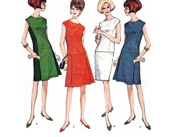 """1966 Vintage 2-Piece Mod Dress, Panel Seam Top & Box Pleat A-line or Pencil Skirt, Use to Color Block, McCall's 8283, Size 10-Bust 31"""""""