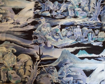"""Cowboys around the Campfire, 42"""" x 17.5"""" - Blue Quilting Fabric, Western"""