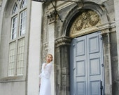 Vintage 1970s Wedding Dress - Edwardian style Bohemian White Wedding Dress with Bell Sleeves (small medium)