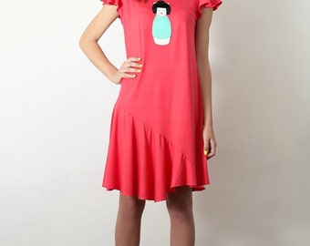 coral dress, geisha dress, cat dress women, coral orange dress, short dress, tshirt dress, tunic dress, summer dress, summer fashion