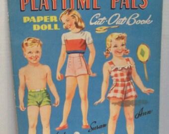 Vintage Playtime Pals paper doll Cut-Out book Lowe 1045 1946 uncut