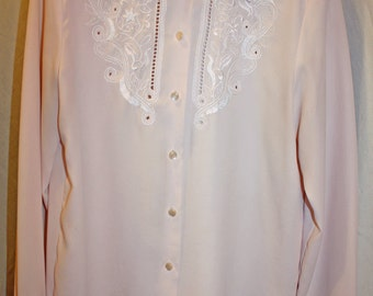 Vintage Christie and Jill Pale Pink Blouse, Eyelet Pattern button down Front blouse; Romantic Looking Blouse; officeware or party blouse