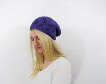 Womens Hat. Slouchy Hat. Slouchy Womens Hat. Slouchy Beanie. Oversized Hat. Crochet Hat. Chunky Knit Hat Beanie. Purple Hat. Winter Hat.